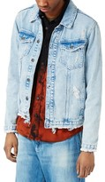 Topman Men's Distressed Denim Jacket