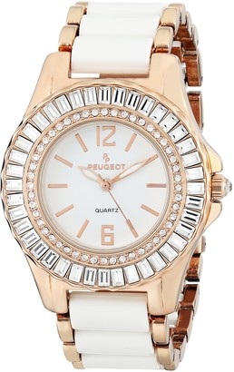 Peugeot Women's 7066RG Crystal Accented Rose Gold White Acrylic Link Watch