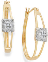 Townsend Victoria Diamond Oval Hoop Earrings in 18k Gold over Sterling Silver (1/10 ct. t.w.)