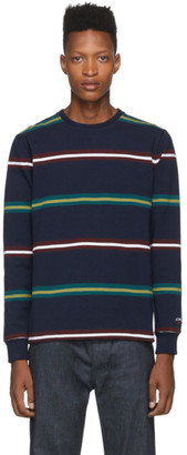 Noah NYC Navy Triple Stripe Long Sleeve T-Shirt