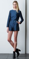Adelyn Rae Long Sleeve Jacquard Printed Romper with Pockets