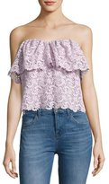 Rebecca Taylor Strapless Floral Lace Top, Lavender