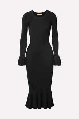 Michael Kors Ruffle-trimmed Ribbed Stretch-knit Midi Dress - Black