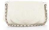 Chanel White Caviar Large Half Moon Bag