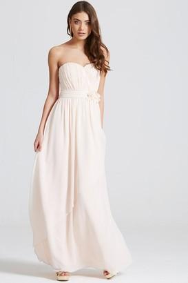 Little Mistress Nude Bandeau Drape Front Maxi Dress