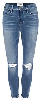 Frame High Rise Skinny Cropped Jeans in Manzanita Rips