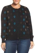 Foxcroft 'Aztec Pattern' Button Front Cardigan (Plus Size)