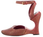 Louis Vuitton Lizard Ankle Strap Wedges