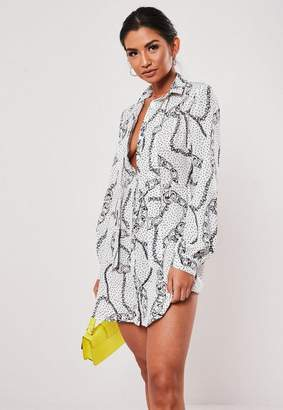 Missguided White Chain Print Pussybow Shirt Dress