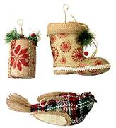 Rustic Burlap Christmas Tree Ornament Bundle - Includes Boot, Gift, and Bird