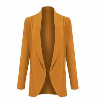 Xpose Ladies Boyfriend Open Front Long Sleece Pocket Smart Casual Blazer Jacket 15 Colours Available Size 8 10 12 14 (Mustard M/L (12/14))