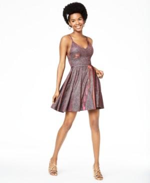 Sequin Hearts Juniors' Strappy Glitter Fit & Flare Dress