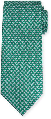 Salvatore Ferragamo Lavinia Turtle-Print Tie, Green
