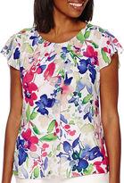 Liz Claiborne Short-Sleeve Floral-Print Blouse - Tall