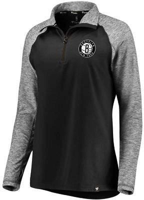 Möve Women's Fanatics Branded Black/Heathered Black Brooklyn Nets Made to Static Performance Raglan Sleeve Quarter-Zip Pullover Jacket
