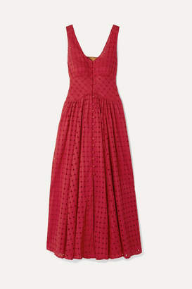 Cult Gaia Angela Buckled Broderie Anglaise Cotton Midi Dress - Red