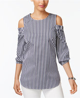 Charter Club Cold-Shoulder Gingham Shirt, Only at Macy's