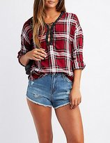 Charlotte Russe Plaid Lace-Up Top