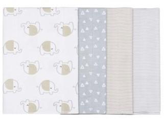 Gerber Baby Boy or Girl Gender Neutral Flannel Burp Cloth Set, 4-Pack