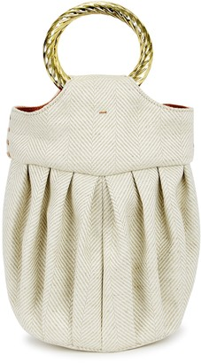 MEHRY MU Lian Mini Ivory Linen Top Handle Bag