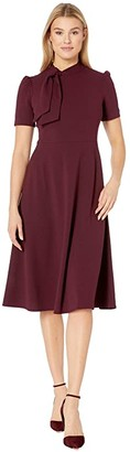 Maggy London Crepe Fit and Flare Dress with Neck Tie (Port Wine) Women's Dress