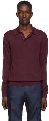 Paul Smith Burgundy Wool Long Sleeve Polo