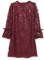 Trixxi Scalloped Sequin Embellished Shift Dress