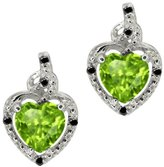 Gem Stone King 1.73 Ct Heart Shape Green Peridot Black Diamond 14K White Gold Earrings