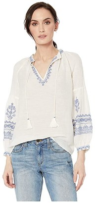Lucky Brand Embroidered Yoke Peasant Top (Natural Multi) Women's Blouse