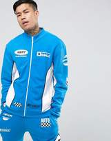 Jaded London Track Jacket In Blue With Racing Print