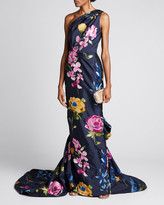 Marchesa One-Shoulder Floral-Embroidered Draped Gown