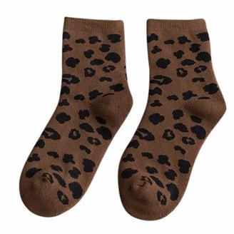 Tosonse Women Autumn Winter Womens Socks Personality Crew Socks Cotton Leopard Print Socks Leopard Print Socks