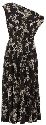 Norma Kamali Off-the-shoulder Floral-print Midi Dress - Womens - Black Print