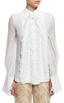 Michael Kors Pleated Bow-Neck Blouse, White