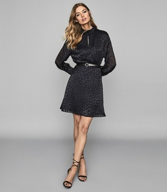 Reiss Matilda - Silk Blend Burnout Mini Dress in Navy