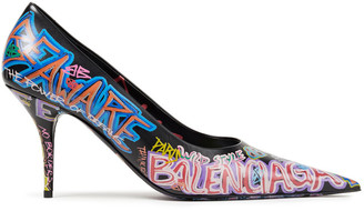 Balenciaga Graffiti Printed Leather Pumps