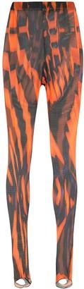 Chopova Lowena Optical-Printed Mesh Leggings