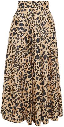 Zimmermann Button-embellished Leopard-print Linen Midi Skirt