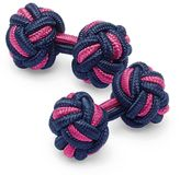 Charles Tyrwhitt Navy and pink knot cuff links