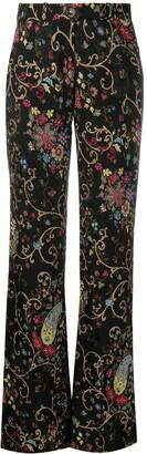 Etro Floral-Print High-Waist Trousers