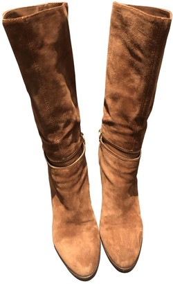 Sergio Rossi Camel Suede Boots
