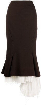 Marni Pleated-Hem Fishtail Skirt
