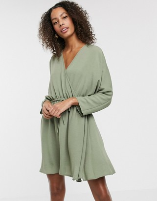 Asos DESIGN batwing mini dress with tie waist in khaki