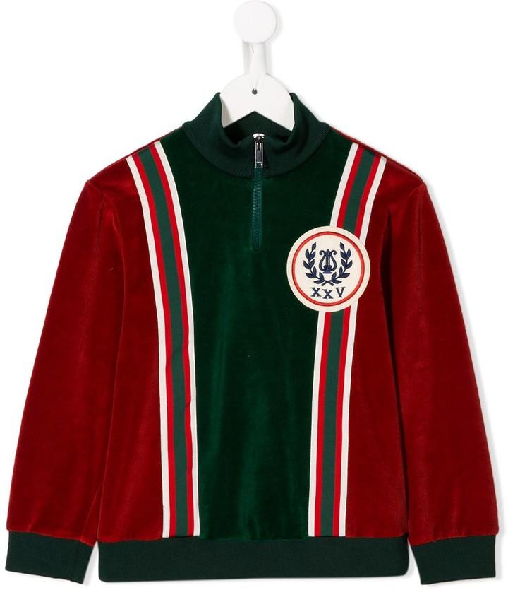 Gucci Kids logo patch zipped sweatshirt