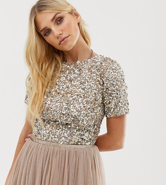 Lace & Beads cropped top with embellishment and open back co-ord-Brown
