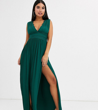 ASOS DESIGN Petite premium lace insert pleated maxi dress in forest green