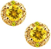 Gem Stone King 0.74 Ct Round Yellow Sapphire and Canary Diamond 14k Yellow Gold Earrings