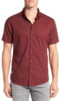 7 Diamonds Men's Trim Fit Short Sleeve Print Woven Shirt