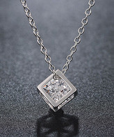 Swarovski Golden Nyc Golden NYC Women's Necklaces - Silvertone Cube Pendant Necklace With Crystals