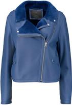 McQ by Alexander McQueen Shearling-trimmed nubuck biker jacket